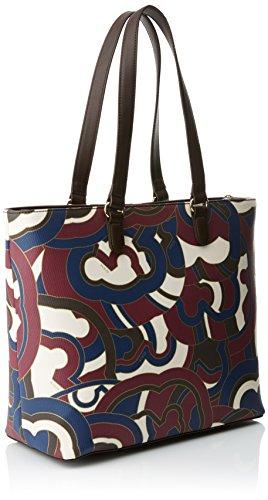 Tous Capazo Myah de Lona - Borse a spalla Donna, Varios colores (Burdeos / Marrón), 15x29x32 cm (W x H L)