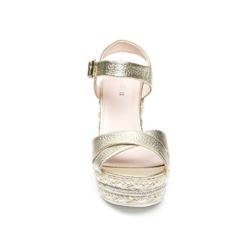 Ideal Shoes, Damen Sandalen Doree