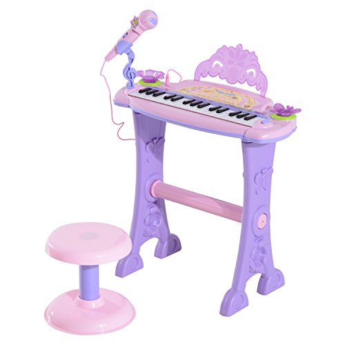 - Qaba Kids 32 Key Butterfly Garden Toy Electronic Piano Keyboard with Stool and Microphone - Pink / Purple
