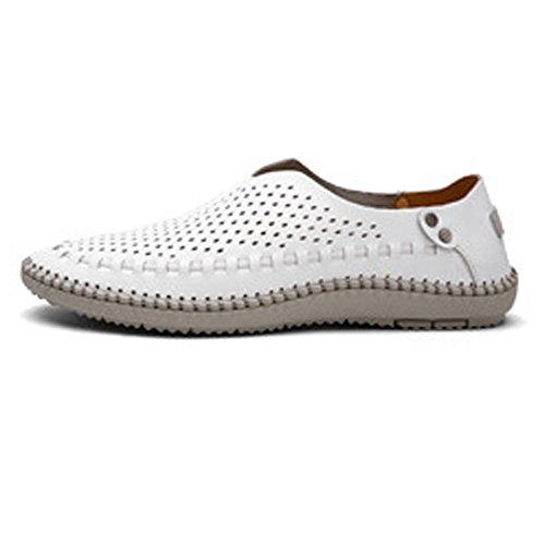 Ruiyue Chaussures Oxford en Cuir Véritable pour Hommes, Mocassins Classiques Slip-on Respirant doublé Trou Confortable Chaussures Breathable White