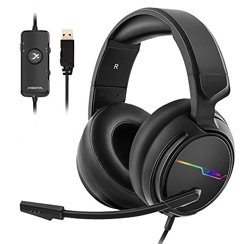 Jeecoo USB Pro Gaming Headset for PC- 7.1 Surround Sound Headphones with...