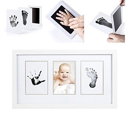 Kidsidol Baby Footprint Handprint Ink Pad Newborn Babyprints for Early Childhood DIY Keepsakes Photo Frame DIY Kit Clean Touch Ink Pad Safe for Baby Ideal Gifts for Newborn(Not Include Frame)