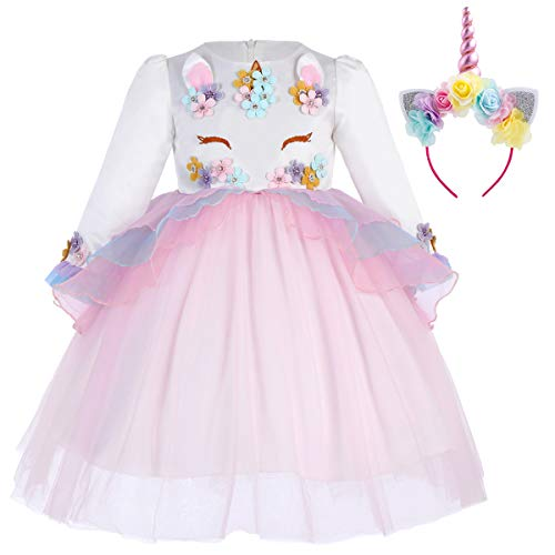 FYMNSI Baby Girls Long Sleeve Princess Unicorn Tulle Dress Wedding Birthday Halloween Carnival Costume + Headband Pink -