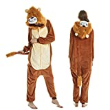 EVELS Unisex Adult Anime Pajamas New Halloween Lion Sleepwear Animal Zip up Flannel Onesie Pajamas Cosplay Costume (Brown-Lion, M)