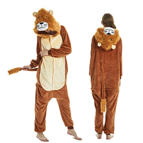 EVELS Unisex Adult Anime Pajamas New Halloween Lion Sleepwear Animal Zip up Flannel Onesie Pajamas Cosplay Costume (Brown-Lion, -