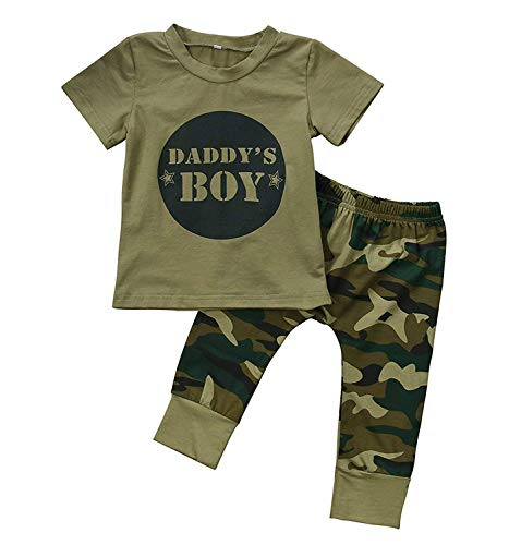 - Kashoer 3Pcs Daddy's Baby Boy Girls Letters Print T-Shirt Top+Long Camouflage Pant+Headband Bodysuit (Daddy's Boy, 12-18Months)