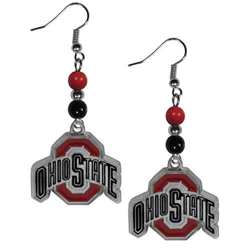 Siskiyou NCAA Ohio State Buckeyes Women's Fan Bead Dangle Earrings