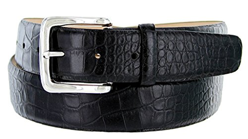 Hagora Men Italian Calfskin Leather Alligator Skin Smooth 1.5