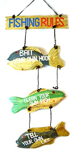 - LG Hand Carved FISHING RULES SIGN Wooden Nautical Trout Bass Mauhi Perch