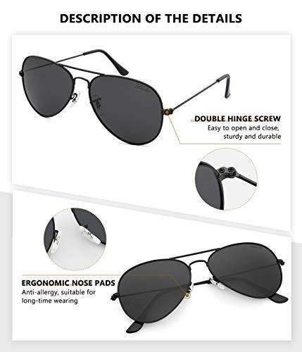 livho Classic Polarized Aviator Sunglasses UV Mirrored Lens Metal Retro Shades 2