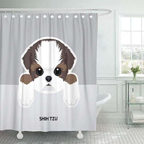 (GETTOGET Brown Breed Portrait of Shih Tzu Puppy Dog Tan Shower Curtain Bathroom Sets Hooks,Waterproof Polyester Curtain)