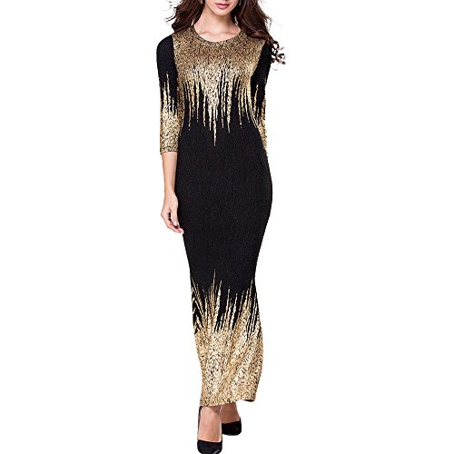 Honwen Women's Cut out Long Sleeves Kim Egypt Gold Foil Print Bronzing Split Maxi (Dresses Of Egypt)