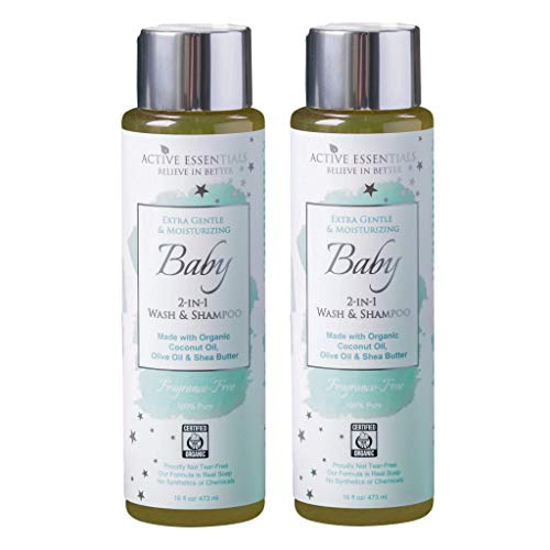 - Organic Baby Wash & Shampoo with Organic Coconut Oil, Olive Oil & Shea Butter, Unscented, 100% Natural, Extra Gentle, Active Essentials 16 Ounce - 2 Pack