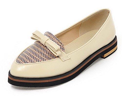 VogueZone009 Damen Weiches Material Niedriger Absatz Ziehen auf Spitz Zehe Pumps Schuhe Cremefarben