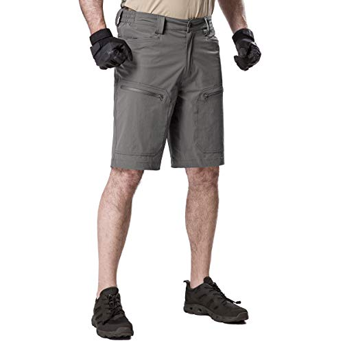 FREE SOLDIER Men's Cargo Shorts Ultralight Quick Dry Stretch Short Nylon Tactical Pants Shorts (Grey Upgrade, 42W)