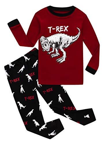KikizYe Dinosaur Big Boys' 2 Piece Pj Sets Pants Pjs 100% Cotton Size 14