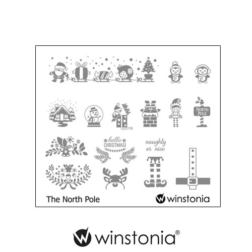 Winstonia Nail Stamping Plates Nail Art Image Stencil Manicure Template Christmas Winter Holiday (The North Pole)