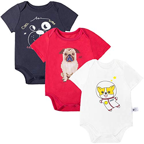 COTTON FAIRY Baby 3-Pack Short Sleeve Bodysuits, Boys Girls Onesies for Newborn Toddlers