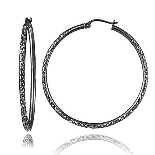 (Black Flashed Sterling Silver 2mm Diamond Cut Round Hoop Earrings, 45mm)