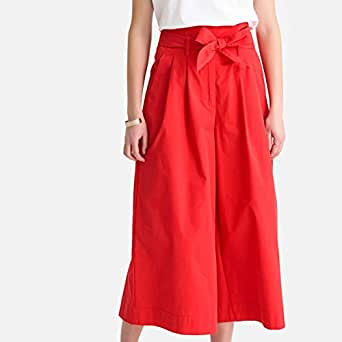 Womens Cropped Wide Leg Cotton Tie-Waist Paperbag Trousers