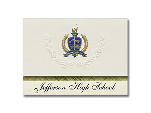 Signature Announcements Jefferson High School (Jefferson, GA) Graduation Announcements, Presidential style, Elite package of 25 with Gold & Blue Metallic Foil seal