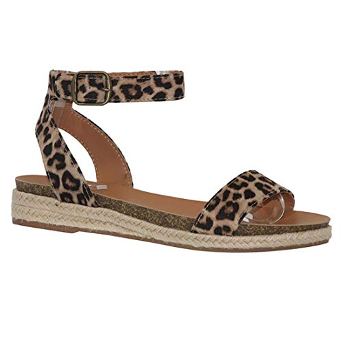 Womens Comfort Flat Sandal Espadrille Ankle Strap Buckle Faux Leather Studded Open Toe Summer Slingback Platform Sandals (Leopard,8 M US)