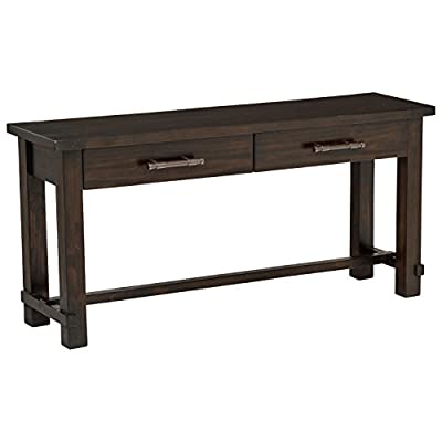 "Stone & Beam Ferndale Rustic 2-Drawer Console Coffee Table, 63""W, Espresso - Made of solid reclaimed pine, this console table will add a warm rustic touch to your home's entryway, living room, or hallway. Knots and natural variations in the grain of the wood make each piece unique. Two drawers provide convenient storage. 63""W x 17""D x 30""H Durable, sustainably sourced solid pine - living-room-furniture, living-room, console-tables - 41RHXOd2SNL. SS400  -"