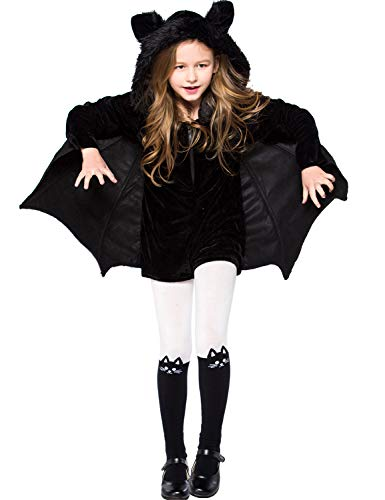Girl Vampire Bat Costume Halloween Jumpsuit Kid Cosplay Dress Up Witch]()