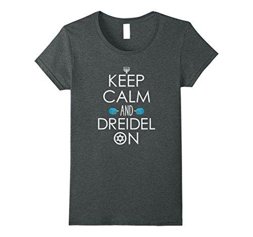 Funny Hanukkah Gifts (Womens Funny Hanukkah Gift Ideas - Keep Calm and Dreidel On T-Shirt Medium Dark Heather)