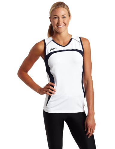 ASICS WoWomen's Ace Jersey, White/Navy, Small