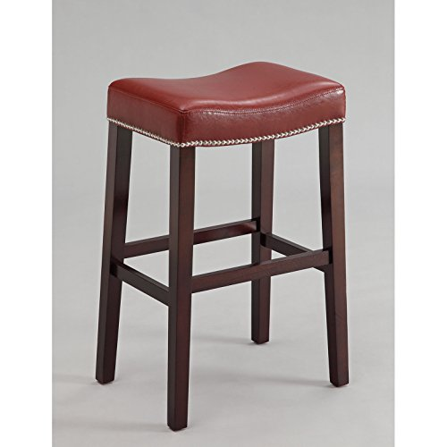 Bar Stools Set of 2 Red PU with Espresso Base Solid Sturdy Counter Height Bar Stools – 19 L x 14 W x 26 H