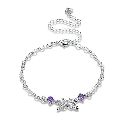 (Women's Pretty 925 Sterling Silver Plated Adjustable Ankle Bracelet Purple CZ Butterfly Charms Foot Jewelry Chain Anklets)