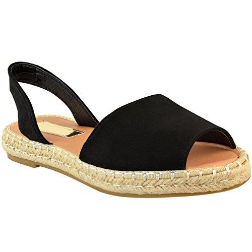 Mote Tørste Kvinner Plattform Sommer Strand Slingback Flat Menorcan Sandaler Størrelse Svart Imitert Semsket Skinn