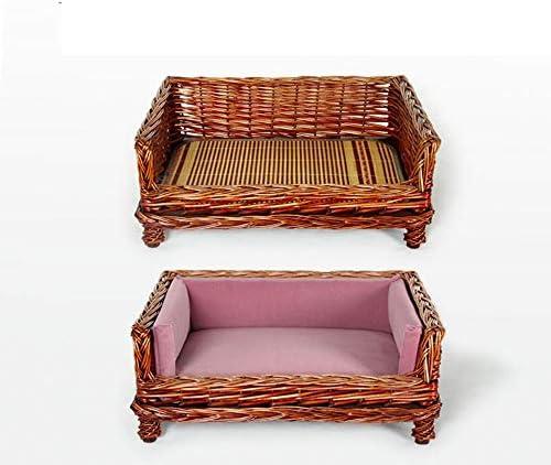 籐ペットのソファ小さな中型と大型のマットレスクール湿気から離れて快適な高まりパッド (Color : Brown, Size : M)