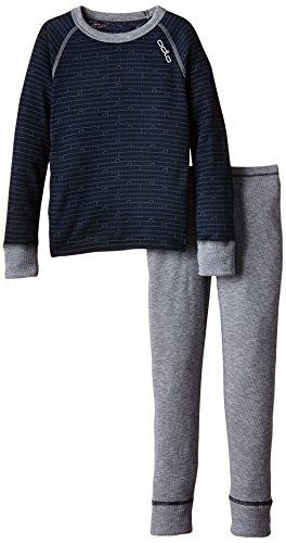 ODLO - conjunto de camiseta de manga larga y pantalón largo térmicos para niño Varios colores - Navy New - Grey Melange