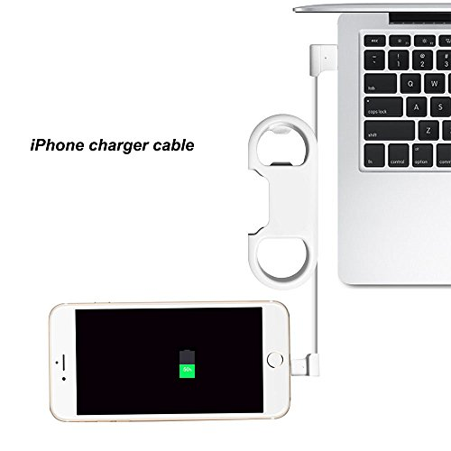 i-Dawn iPhone Charge Lightning Cable, Aluminium Carabiner, Portable Multifunction Keychain Bottle Opener USB Charging Cord Short Cable for iOS Devices (White)