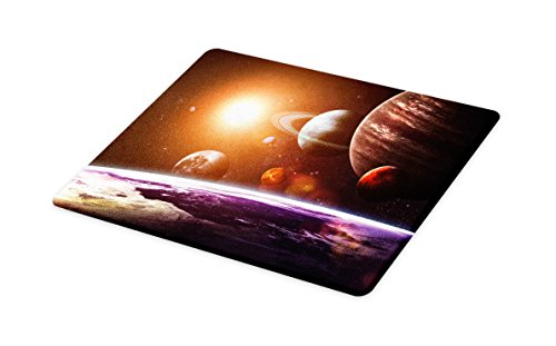 (Lunarable Modern Cutting Board, Solar System with Planets Outer Space Objects Sun Dark Matter Background Print, Decorative Tempered Glass Cutting and Serving Board, Small Size, Orange Purple)
