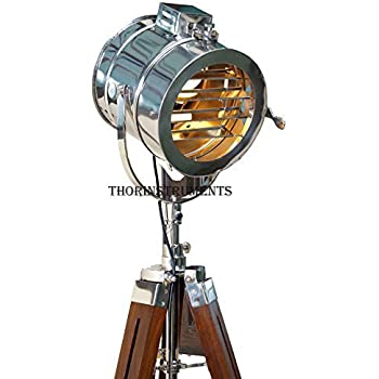 Nautical Antique Finish Brass Spotlight Searchlight Wooden