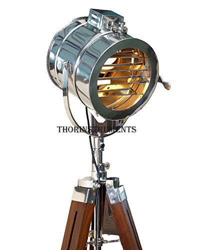 Thor Vintage Stage Searchlight Wooden Tripod Stand Search Light Studio Spot Lamp
