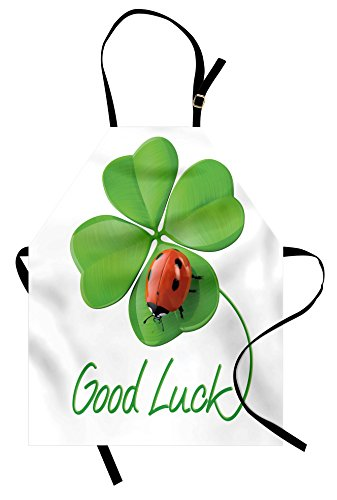 Ambesonne Going Away Party Apron, Lucky Symbols Four Leaf Clover with Ladybug Irish Charm Good Luck, Unisex Kitchen Bib Apron with Adjustable Neck for Cooking Baking Gardening, Green Red (Leaf Clover Good Luck Charm)