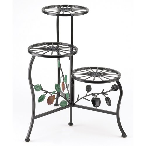 Gifts & Decor Country Apple Plant Stand Shelf Holds 3-Flower Pot (Stand Shelf Plant Iron)