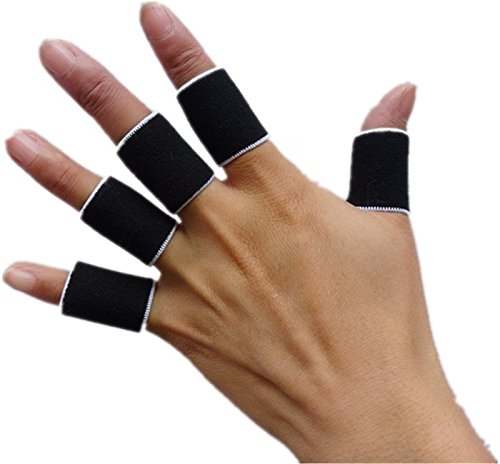 Black 10pcs/set Sports Finger Splint Guard Bands Bandage Support Wrap Basketball Volleyball Football Fingerstall Sleeve Caps Protector Fingerbands Protective Finger Supports (Bowling Tool)
