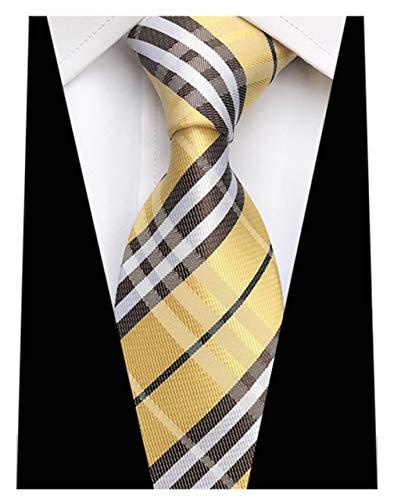 MENDENG Classic Striped Plaid Yellow Jacquard Woven Ties Silk Men's Tie Necktie