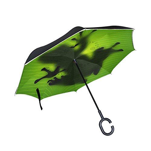 - Trikahan Reverse Umbrella, Frog Nature, Outdoor Windproof Double Layer Inverted Umbrella Rain Protection Upside Down Auto Car Reverse UV Umbrellas for Men Women