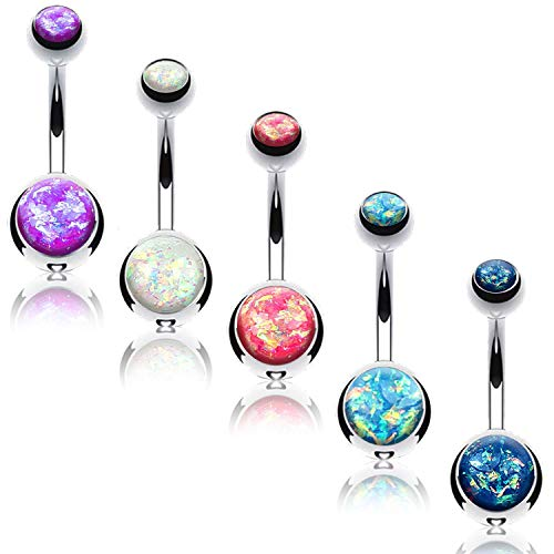 BodyJ4You 5PC Belly Button Rings 14G Created-Opal Silvertone Stainless Steel Curved Navel Barbell Set ()