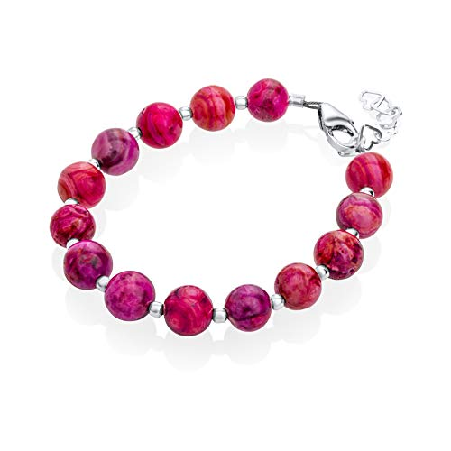 (Spring Purple Crazy Lace Agate and Silver Bead Luxury Sterling Silver Toddler Girl Bracelet (b1722_M+))