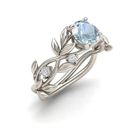 (Floral Rings ODGear Women Silver Transparent Flower Vine Leaf Ring Wedding Gift Engagement Diamond (US 8,)