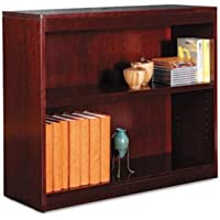 Alera BCS23036MY - Square Corner Bookcase, Wood Veneer, 2-Shelf, 35-3/8w x 11-3/4d x 30h, Mahogany-ALEBCS23036MY