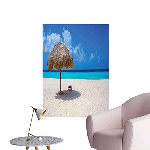 Jaydevn Seaside Wall Mural Wallpaper Stickers Parasol and Chair Sunny Day in Romantic Beach Caribbean Paradise Image Bedroom Bedside Wall Ivory Aqua and Blue W8 x -