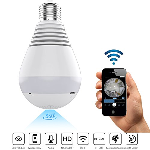 TOENNESEN HD IP Light Bulb Wireless Hidden Security Camera with Fisheye Lens/Night Version/Two-Way Audio/HD Resolution/Real Time View/Real Time Recording/Motion (2 Way Audio Intercom Interface)